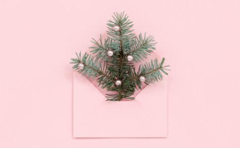 封筒にクリスマスツリー