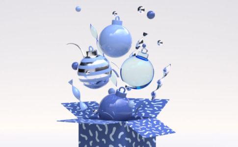 青いオブジェクトのクリスマス装飾